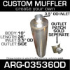 "10"" Universal Muffler 3.5"" OD End In and Out Muffler ARG-03536OD"