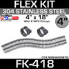 """4"""" x 18"""" Stainless Steel Flex Pipe Kit with 2 Clamps FK-418"""
