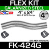 """4"""" x 24"""" Galvanized Flex Pipe Kit 2 Clamps Included FK-424G"""