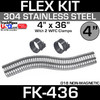 """4"""" x 36"""" Stainless Steel Flex Pipe Kit with 2 Clamps FK-436"""