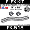 """5"""" x 18"""" Stainless Steel Flex Pipe Kit with 2 Clamps FK-518"""