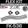 """5"""" x 36"""" Stainless Steel Flex Pipe Kit with 2 Clamps FK-536"""
