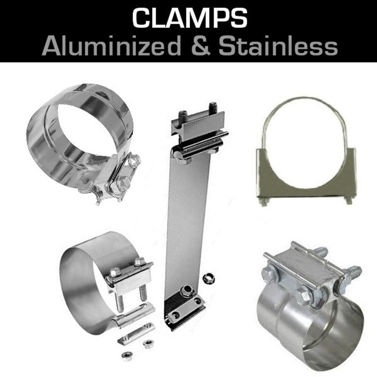 4 Zinc Plated Guillotine Muffler Exhaust Stack Pipe Clamp JG40ZN