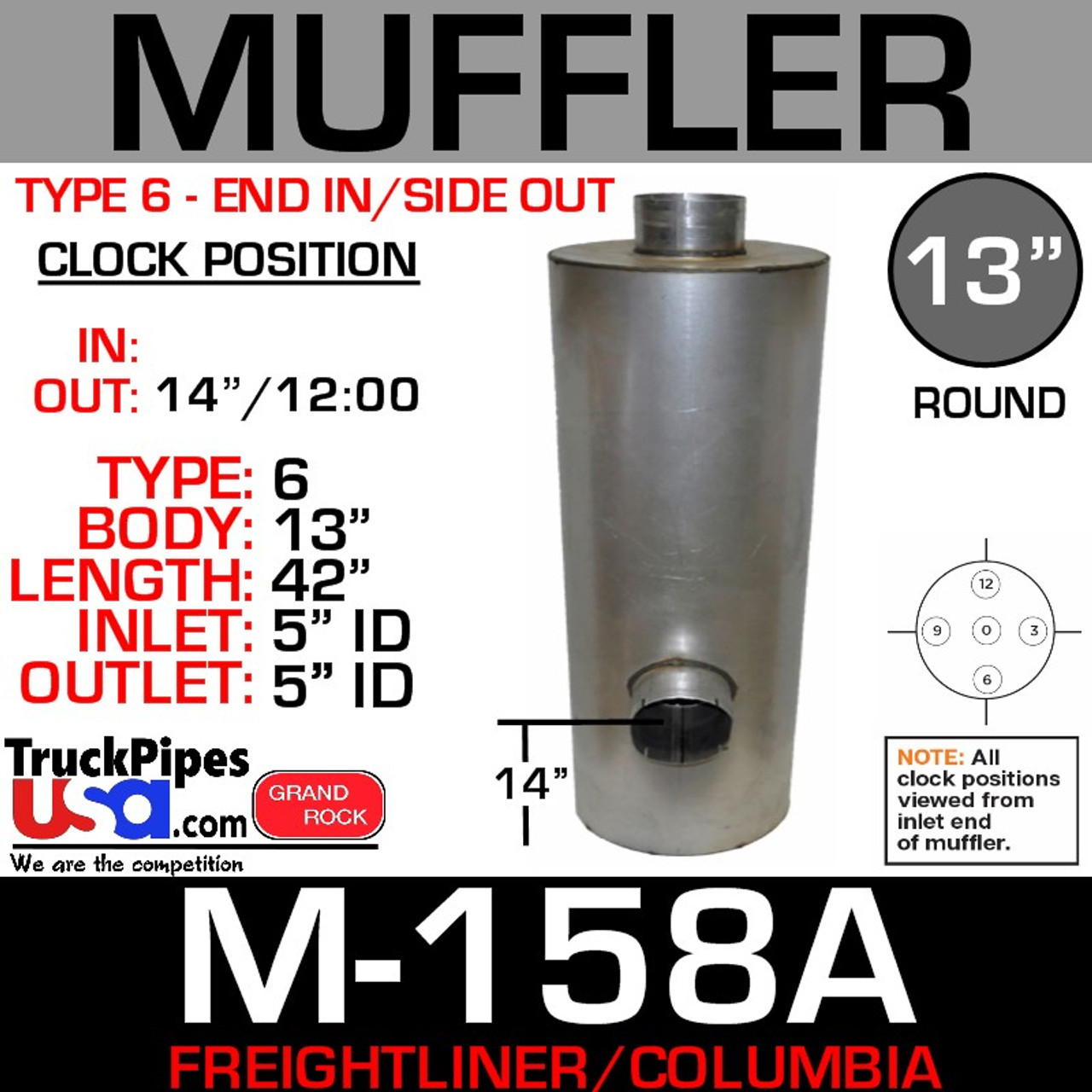 """04-22804-000 Freightliner Muffler 13"""" x 43""""- 5"""" ID IN-OUT M-158A"""