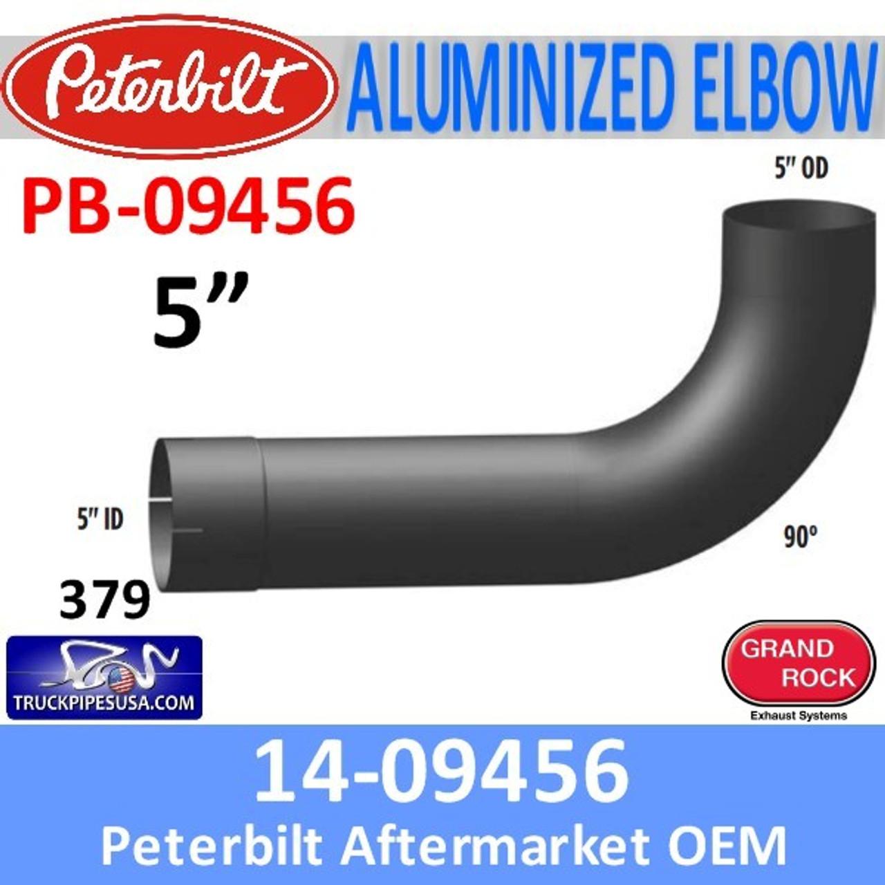 14-09456 Peterbilt 379 Exhaust 90 Degree Aluminized Elbow PB-09456