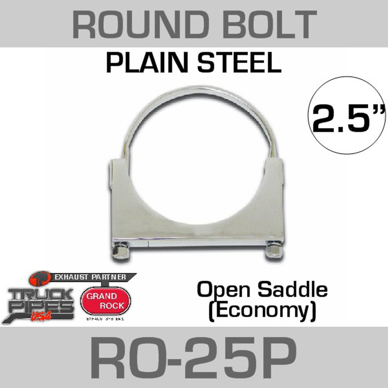 "2.5"" Round Bolt Open Saddle Exhaust Clamp RO-25P"