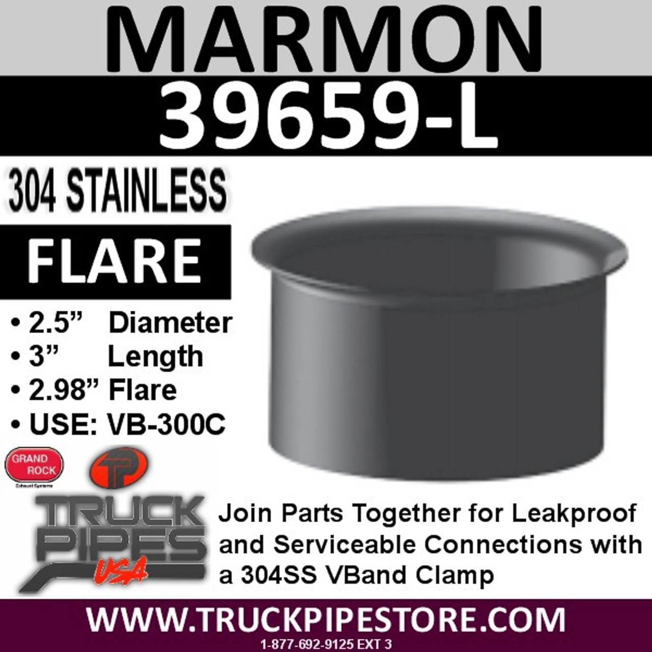 "2.5"" Marmon Exhaust 2.98"" Flare 304 Stainless Steel 39659-L"