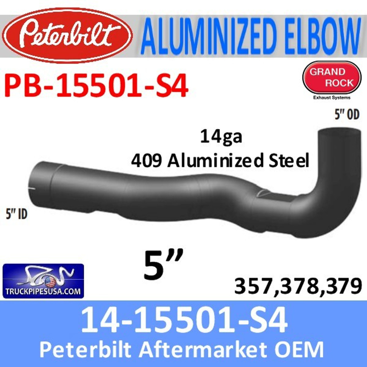 14-15501 Peterbilt 357,378,379 409 Stainless Elbow PB-15501-S4 - SPECIAL ORDER