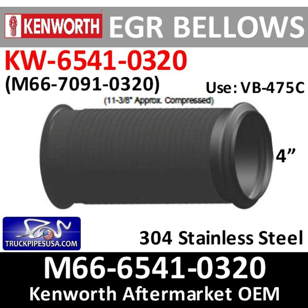 M66 6541 0320 Peterbilt Flared Bellow Flex Pipe Pb 6541 0320