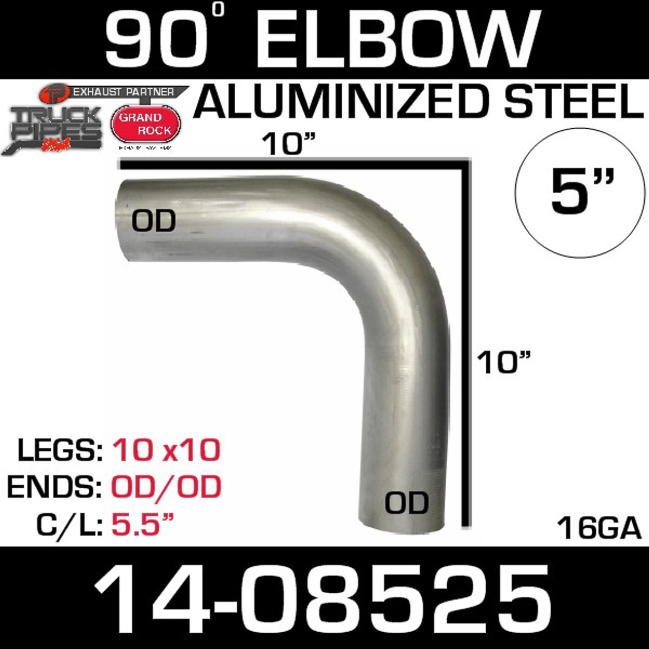 "14-08525 5"" 90 Degree Aluminized Elbow 10"" x 10"" OD-OD L590-1010SA"