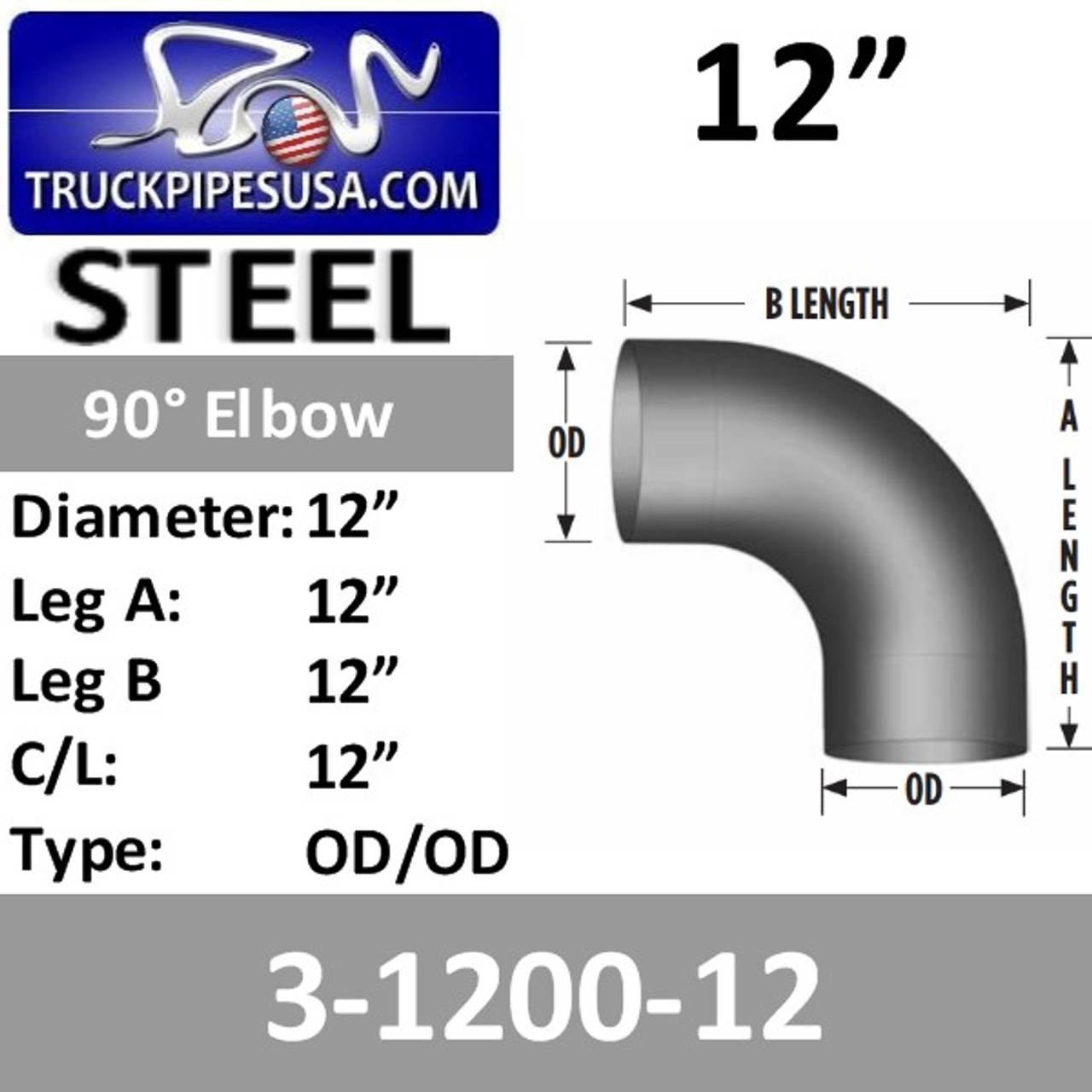 """3-1200-12 12"""" 90 Degree Exhaust Elbow 12"""" CLR, 12"""" Leg 3-1200-12"""