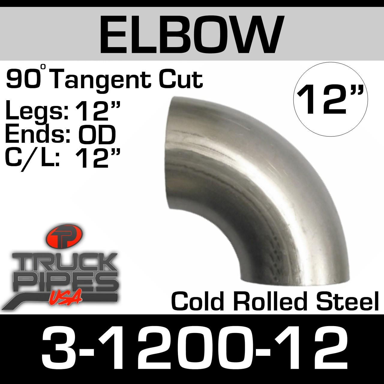 """12"""" 90 Degree Exhaust Elbow 12"""" CLR, 12"""" Leg 3-1200-12"""