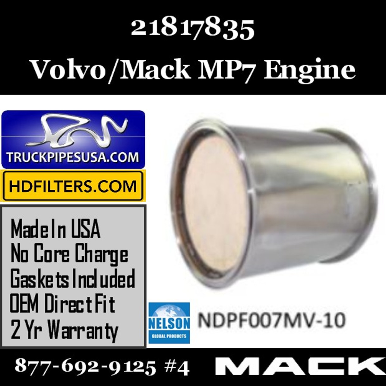 21817835 Volvo Mack DPF for MP7 Engine