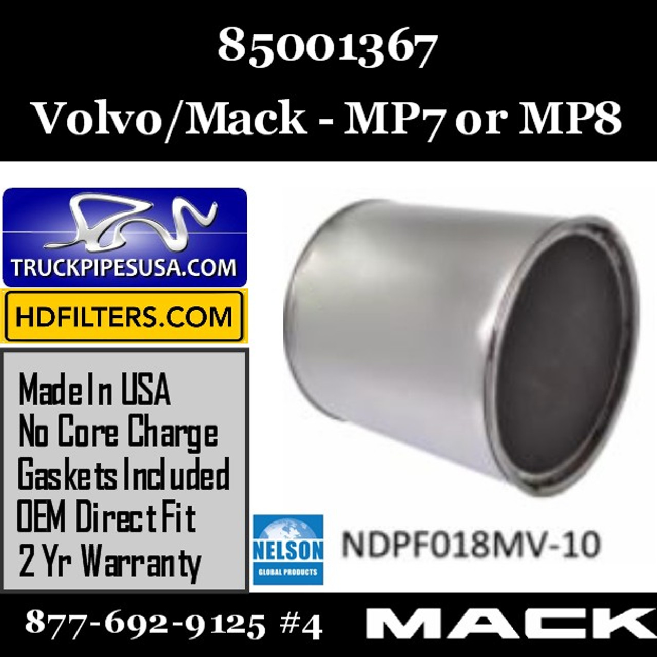 85001367 Volvo Mack DPF For MP7 Or MP8 Engine