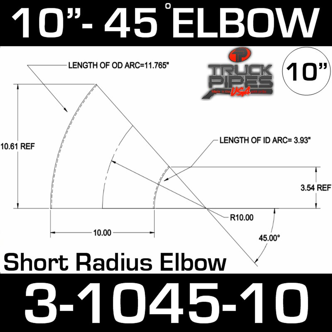 "10"" 45 Degree Exhaust Elbow 10"" CLR, 4.14"" Leg 3-1045-10"