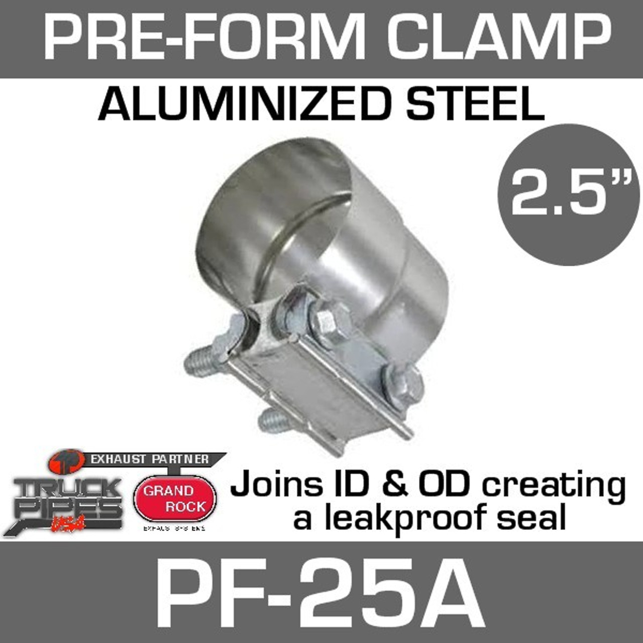 """2.5"""" Preformed Aluminized Steel Exhaust Seal Clamp PF-25A"""