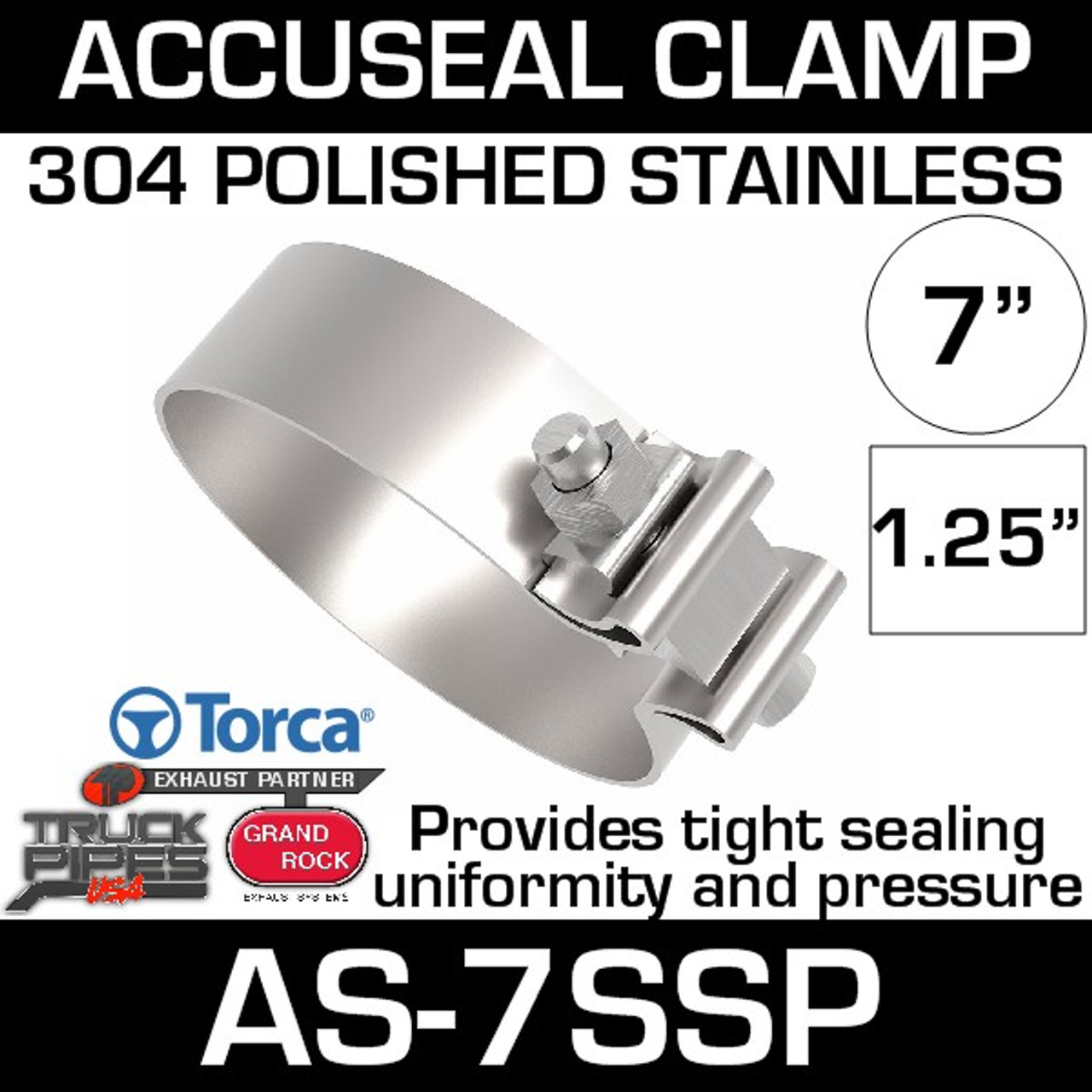 "Stainless Steel 4.5/"" Torca Flat Band Clamp"