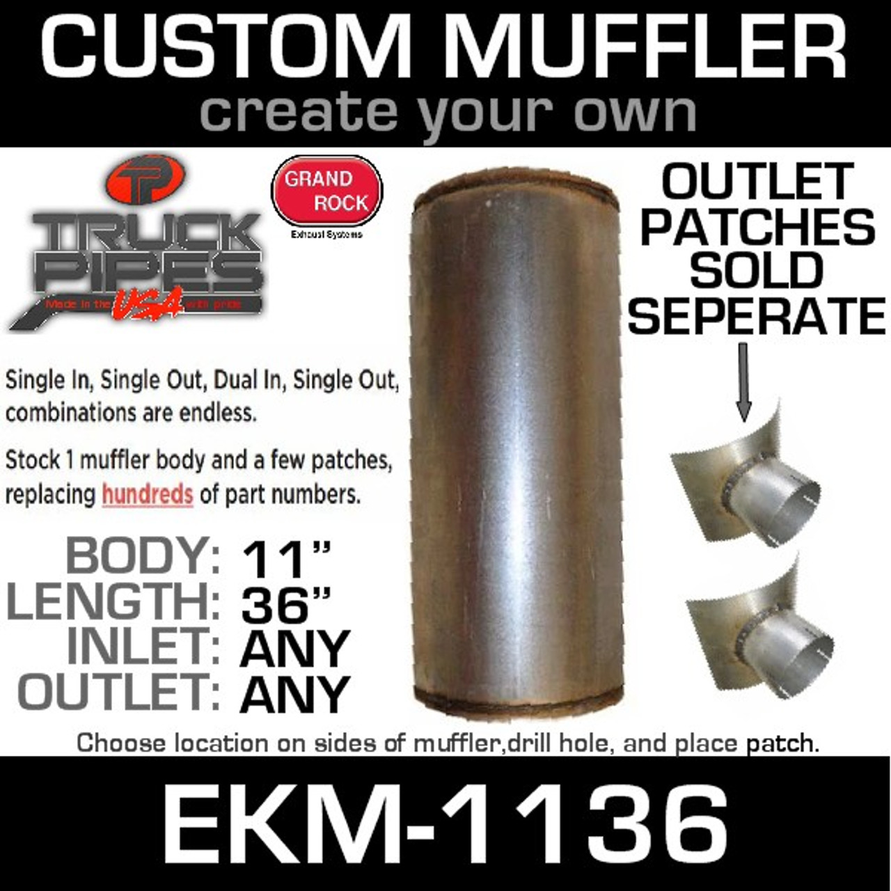 "EKM-1136 11"" x 36"" Universal Muffler Round EKM-1136 (patch NOT Included)"