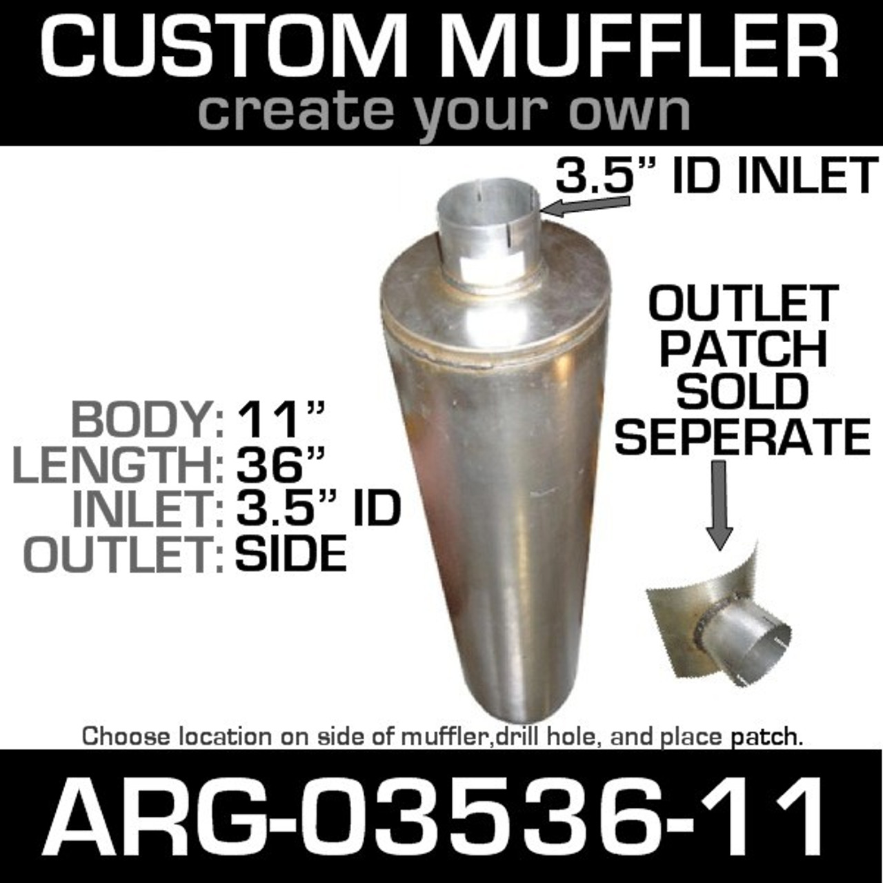 "11"" Universal Muffler 3.5"" ID End In and Out Muffler ARG-03536-11"