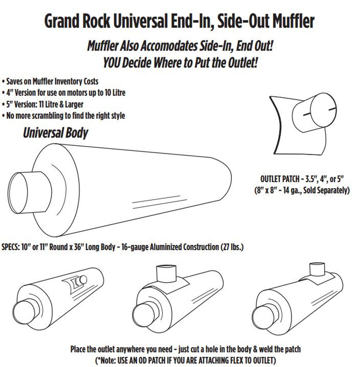 "ARG-0436OD 10"" x 36"" Universal Muffler with 4"" OD on 1 End"