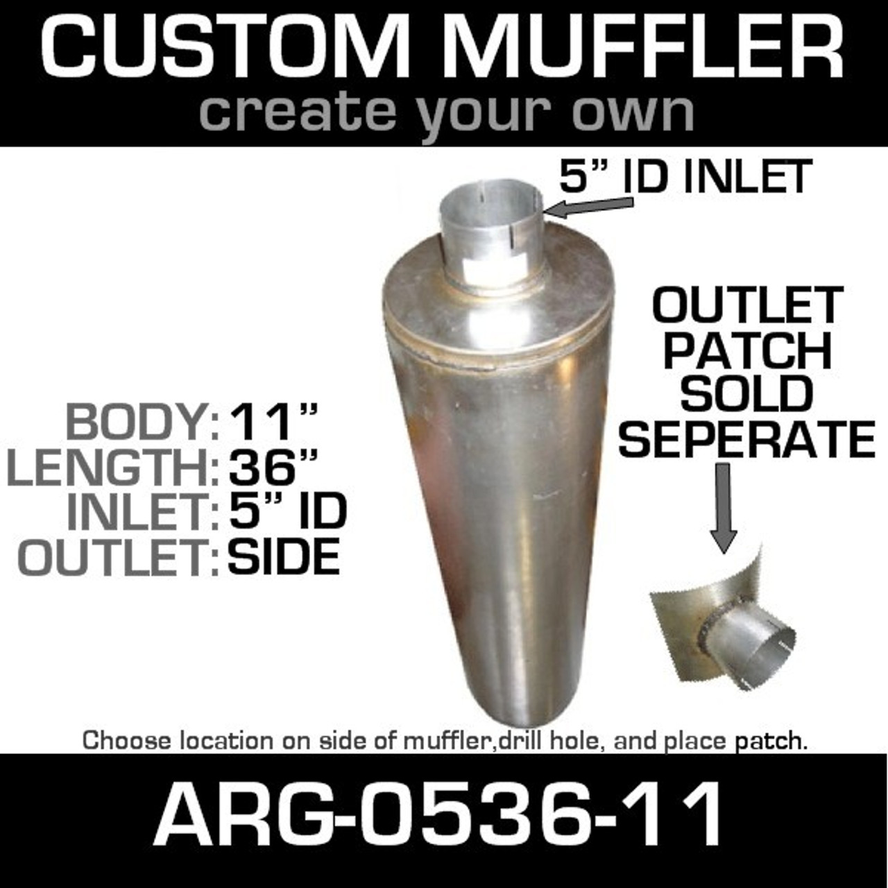"""11"""" Universal Muffler 5"""" ID End In and Out Muffler ARG-0536-11"""