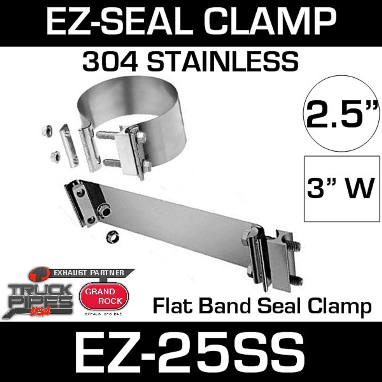 """2.5"""" EZ-seal Stainless Steel Exhaust Clamp EZ-225SS"""