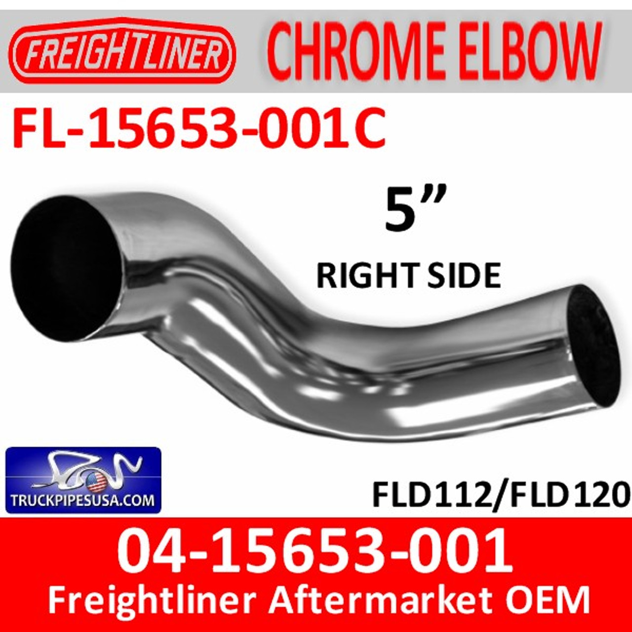 04-15653-001C Freightliner Chrome Right Exhaust Elbow FL-15653-001C