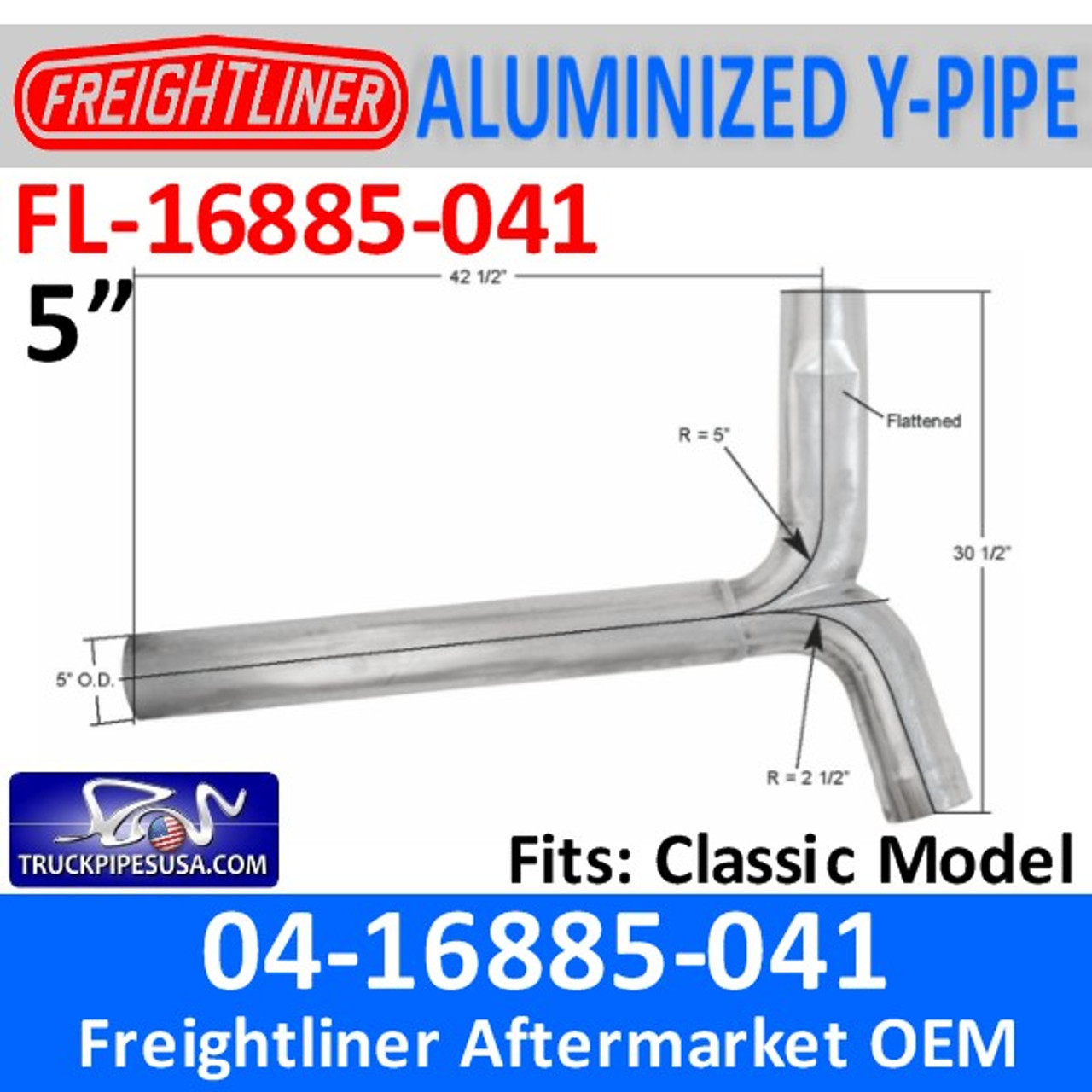 04-16885-041 Freightliner Aluminized Y-Pipe Exhaust FL-16885-041