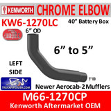 "M66-1270CP Kenworth Left Chrome Exhaust 6"" to 5"""