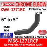 "M66-1271RCP Kenworth Right Chrome Exhaust 6"" to 5"""