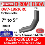 """KW7-18616RCP Kenworth Right Chrome Elbow 45"""" Battery Box 7"""" to 5"""""""