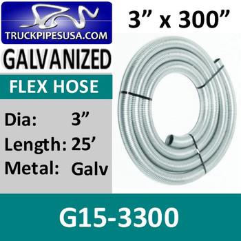 "3"" x 300"" .015 Galvanized Exhaust Flex Hose G15-3300"