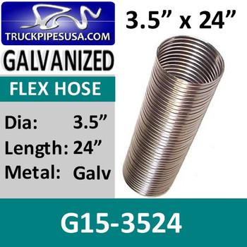 """G15-3524 3.5"""" x 24"""" .015 Galvanized Exhaust Flex Hose G15-3524"""