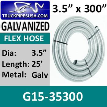 "3.5"" x 300"" .015 Galvanized Exhaust Flex Hose G15-35300"