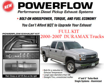 2000-2007 GM 6.6L Duramax 4 inch Powerflow Stack Kit (GM-0004-A4)