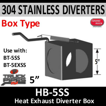 "Exhaust Diverter Box 5"" 304 Stainless Steel 5"" ID Holes - 2 Position (HB-5SS)"