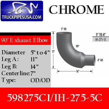 "IH-275-5C 598275C1 International Chrome Elbow Reduced 5"" to 4"" IH-275-5C"