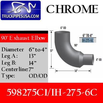 "IH-275-6C 598275C1 International Chrome Elbow Reduced 6"" to 4"" IH-275-6C"