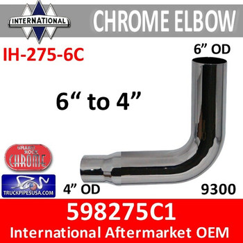"598275C1 International Chrome Elbow Reduced 6"" to 4"" IH-275-6C"