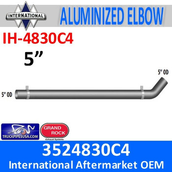 "3524830C4 International Exhaust Long Pipe IH-4830C4 7.8"" then 47 degree bend then 82.8"" and comes with 2 brackets End to end 94.3"""
