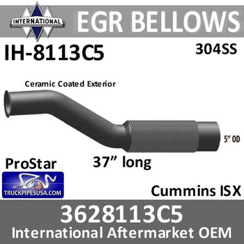 IH-8113C5 3628113C5 International EGR Bellows Cummins ISX Ceramic Coated
