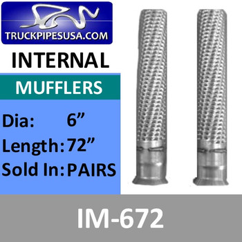 "IM-672 IM-672 6"" x 72"" Internal Muffler Exhaust Baffle Tube (Pair)"