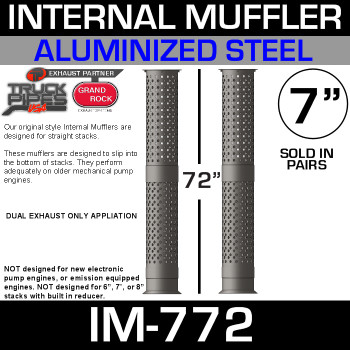 "IM-772 7"" x 72"" Internal Muffler Exhaust Baffle Tube (Pair)"