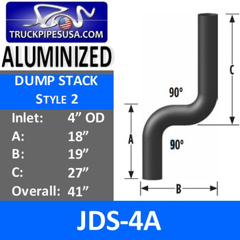 "4"" OD Aluminized Dump Truck Exhaust Stack Pipe JDS-4A"