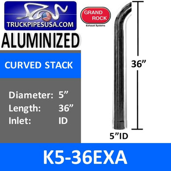 "5"" x 36"" Curved Top ID Aluminized Exhaust Stack K5-36EXA"