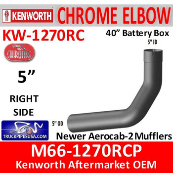 "M66-1270RCP Kenworth Chrome Right 5"" Elbow for 40"" Steps"