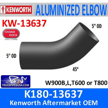 K180-13637 Kenworth Exhaust 45 degree Elbow W900 T600-T800