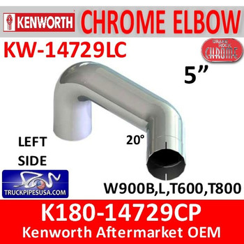 K180-14729CP Kenworth Chrome Left Exhaust B Model