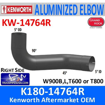 "KW-14764R K180-14764R Kenworth 5"" Aluminized Exhaust Right Elbow"