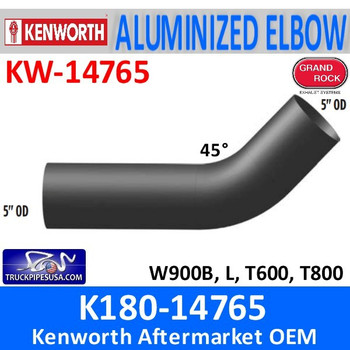 K180-14765 Kenworth Exhaust 45 Degree Elbow KW-14765 EP50EL45209A